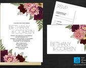 Flower Print Wedding Invitation with RSVP Post Card - custom design, flowers, metallic - No Limit Laser / Arkansas Graphics