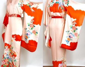 "Japanese K81907 Cute Kids Kimono ""Kyo-Yuzen"" Yotsumi-Haregi Vintage"
