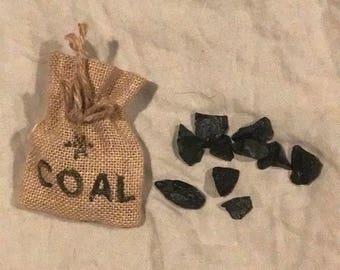 """4""""x5"""" drawstring burlap sack of Santas Coal"""