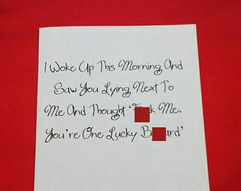 I Woke Up This Morning And Thought You Lucky Bast*rd Card, Swearing Anniversary Card, Adult Humour Valentines Day Card, Birthday Card