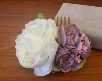 Flower comb rose comb white flower comb bridesmaid comb Bridal Flower Comb wedding floral comb wedding comb Floral Hair Comb peony comb