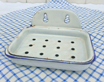 Vintage French enamelware soap dish. White enamel with blue trim.