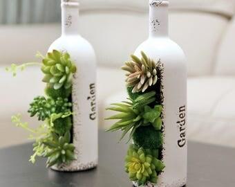 """Decorative Succulent Planter bottle shape,  saying """"Garden"""", Artificial Succulent Plants included, 10""""H"""