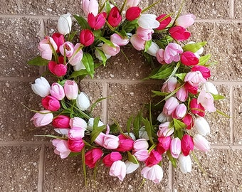 ESE Tulip Wreath, Burgundy Pink White, 24""