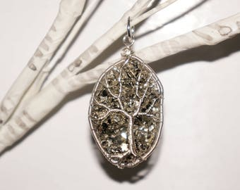 Golden Pyrite Tree of Life Pendant