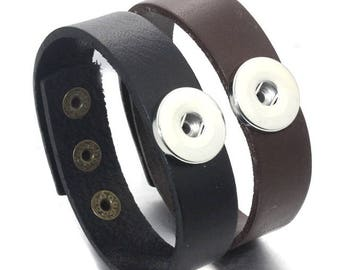 Great New Simple Men's Interchangeable Snap Bracelet - Plain - Genuine Leather in Black and Brown - Adjustable - Add your NFL Snaps!