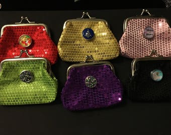 New Glittery Snap Coin purses with an 18mm Interchaneeabke Snap - Choose Any Snap 3 Dollars or Less