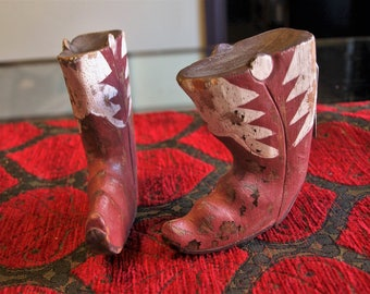 Hand Carved Wood and Painted Cowboy Boots Wall Hooks