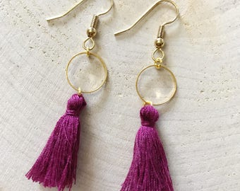Purple tassel and gold connector earrings