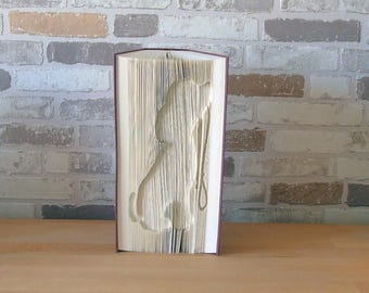 folded book - dog silhouette / / Visual Arts / / Bookfolding / / gift / / decoration / / dog lovers