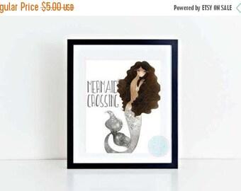 25% OFF SALE- PRINTABLE Art Mermaid Crossing Mermaid Print Mermaid Poster Afro Poster Wall Art Mermaid Illustration  Mermaid Wall Decor Afri