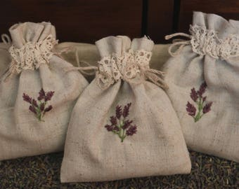 3 hand embroidered linen and lace Lavender bags with highly scented organic Yorkshire Lavender
