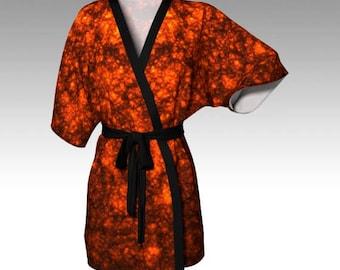 Orange Robe, Orange Kimono, Lava Robe, Lava Kimono, Dressing Gown, Beach Coverup, Bridesmaid Robe, Lounge Wear, Swimsuit Coverup, Women Gift