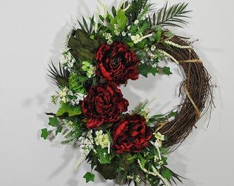 red peony wreath for front door, summer door wreath, fall door wreath, modern door wreath, peony decor, wall wreath, red decor,