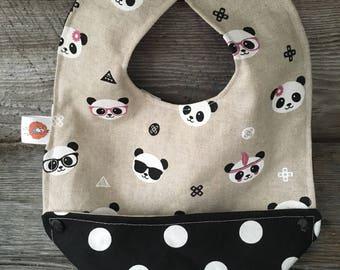 bib scalable bib for baby child panda bezel black and white polka dots