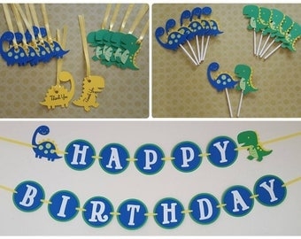Basic Dinosaur Birthday Party Pack 1st Birthday Party Dino-Mite Party Banner Tags and Toppers