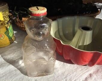 Vintage Snow Crest Bear Bank Bottle, Bank Bottle With Lid, Snow Crest Beverages Inc, 1950's
