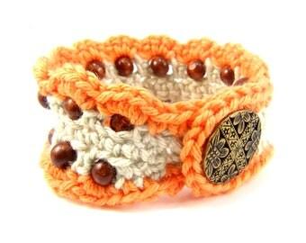 Crochet Bracelet | Beaded Bracelets | Beaded Cuff Bracelet | Boho Cuff Bracelet | Handmade Bracelet | Crochet Cuff Bracelet