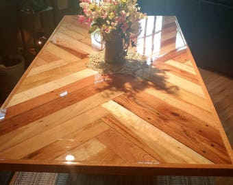 Dining Table and Base, Reclaimed Pallet Top with Herring Bone and Chevron Pattern Table Top