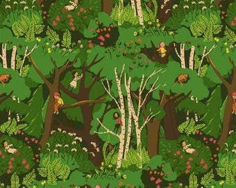 Tiger Lily, Climbing Trees, by, Heather Ross, for Windham Fabrics, 40927, green, oop, htf, fq, half yard, yardage
