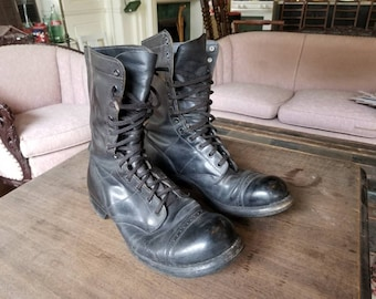 Vintage US Army Black Leather Combat Boots by Corcoran - Size 9.5 - 10.5