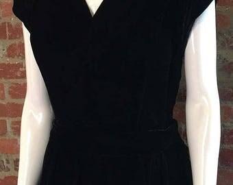 GOODBYE SUMMER SALE Vintage 40's Black Silk Velvet Dress with Peplum