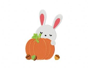 Fall Autumn Bunny Rabbit pumpkin embroidery design