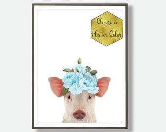 Piglet Print, Farm Animal Print, Watercolor Print, Printable Art, Instant Download, Nursery Wall Art, Nursery Gift, Country Prints