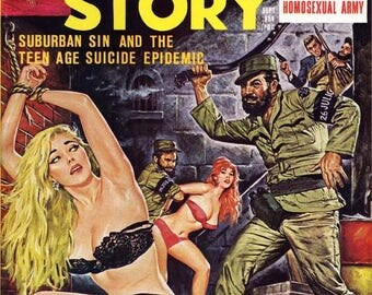 MAN'S STORY Magazine Cover Art - 40-Trading Cards Set - Men's Adventure Pulp Mag