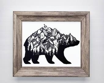Bear Wall Print, Nature Wall Art, Bear Mountain Print, Printed Wall Art