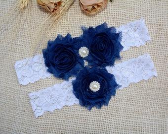 Navy Blue Garter, Wedding Garter Blue, Wedding Garter Set, Something Blue, Lace Garter, White Wedding Garter, Wedding Gift Blue, Garter Blue
