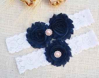 Wedding Garters, Wedding Garter Set, Wedding Garter Blue, Shabby Chic Garter, Toss Garter Blue, Navy Garter Set, Dark Blue Bridal, Garters
