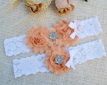 Peach Garter Set, Peach Bridal Garter, Keepsake Garter Peach,Toss Wedding Garter, Lace White Garters, Vintage Lace Garter, Blush Garter Set