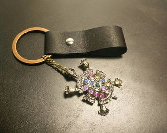 Turtle rhinestone kangaroo leather keychain