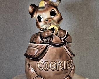 Squirrel Cookie Jar Vintage Huckleberry Squirrel