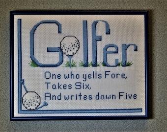 Finished Cross Stitch Golfer Framed