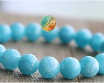 Aquamarine bracelet, 8mm Aquamarine Crystal bracelet,March birthstone, Stretch bracelet, Sky blue aquamarine, Gemstone Bracelet,Courage