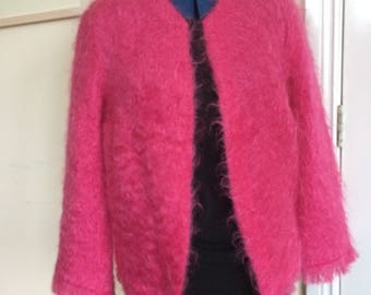 Vintage pink mohair ladies jacket/cardigan