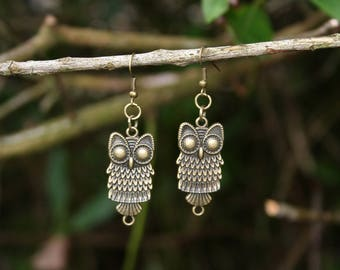 Hand made bronze OWL earrings / owl bronze Earrings