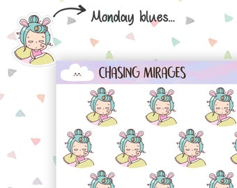 C204 | Monday Blues Planner sticker | Tired planner sticker | Erin condren planner sticker | Cute planner icon sticker