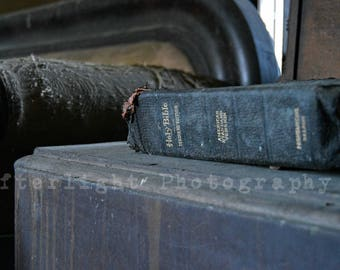 Abandoned Bible, Fine art photography, urban decay,