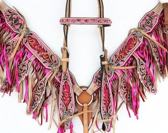 Hot Pink Leaf Fringe Headstall Leather Western Horse Trail Bridle Breast Collar Plate Barrel Racer Cowgirl Bling Tack Set