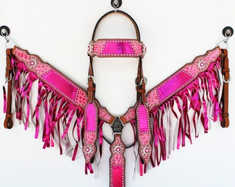 Hand Made Metallic Pink Gator Headstall Leather Western Horse Trail Bridle Breast Collar Plate Fringe Barrel Racer Cowgirl Bling Tack Set