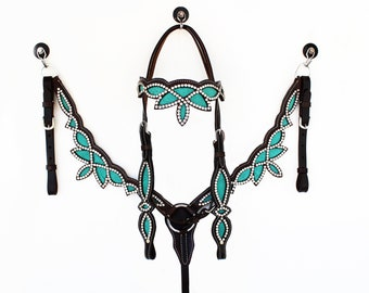 Handmade Crown Design Western Barrel Trail Horse Headstall Leather Bridle Breast Collar Plate Set Made To Order