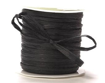 200 Yards Black Paper Raffia Ribbon  romantic ribbon, weddings, favors, barn wedding