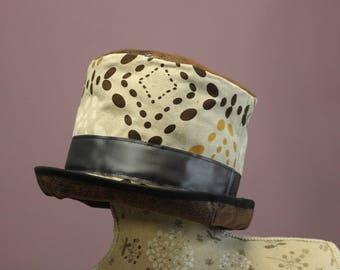 Stylish top hat semi stiff canvas and leather