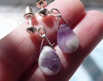 Amethyst Earrings, Natural Amethyst Earrings, Feng Shui Healing Earrings, February Birthstone, Purple Amethyst Dangle Earrings