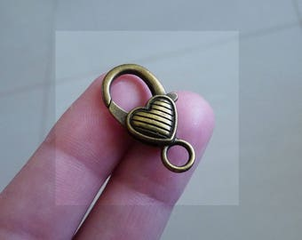 Heart Lobster Clasp, Bronze Heart Clasp, Large Bronze Clasp, Bronze Lobster Clasps, Big Lobster Claw Clasp