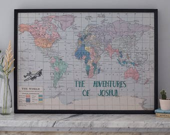 Personalised map notice board,  stitched world map, pin board, map pin board, magnetic notice board, push pin travel map, home decor