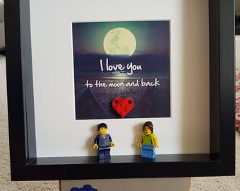 Love you to the moon and back Lego 3d Frame Shabby Chic present gift